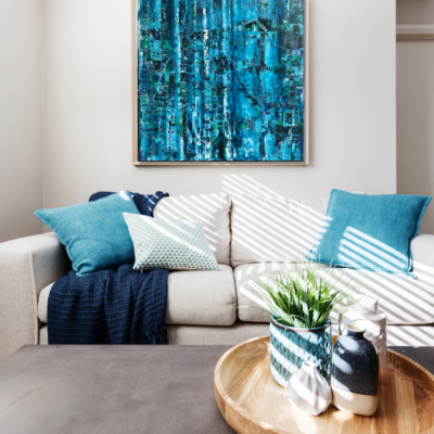 Waterfall wall in frame in home